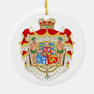 Ornement Rond En Céramique Manteau des bras royal danois vintage du Danemark