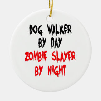Ornement Rond En Céramique Marcheur de chien de tueur de zombi