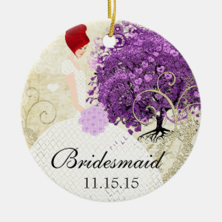 Ornement Rond En Céramique Mariage rayonnant d'arbre de feuille de Purple