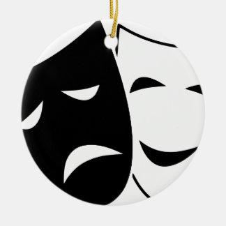 Ornement Rond En Céramique Masques de tragédie de comédie