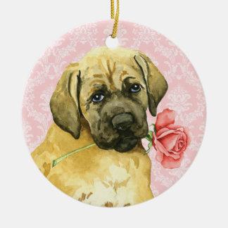 Ornement Rond En Céramique Mastiff rose de Valentine