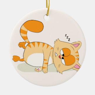Ornement Rond En Céramique Même le chat déteste lundi