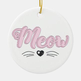 Ornement Rond En Céramique Meow