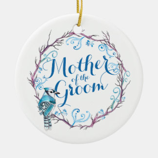 Ornement Rond En Céramique Mère de l'ornement bleu de mariage d'oiseau de