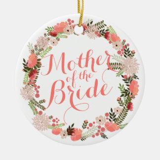 Ornement Rond En Céramique Mère de l'ornement de mariage de ressort de jeune