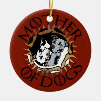 Ornement Rond En Céramique Mère d'ornement de chiens
