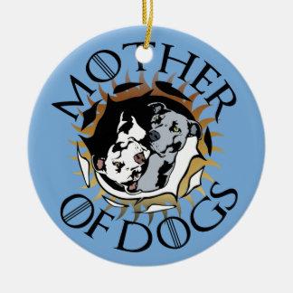 Ornement Rond En Céramique Mère d'ornement en céramique de chiens