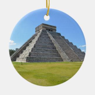 Ornement Rond En Céramique Merveilles de la pyramide 7 de Chichen Itza