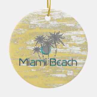 Ornement Rond En Céramique Miami Beach, la Floride, paumes, cool de grunge