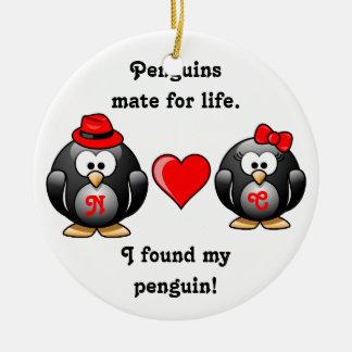 Ornement Rond En Céramique Mignon j'ai trouvé mon compagnon de pingouin pour