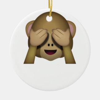 Ornement Rond En Céramique Mignon ne voir l'aucun singe mauvais Emoji