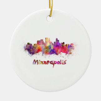 Ornement Rond En Céramique Minneapolis skyline in watercolor