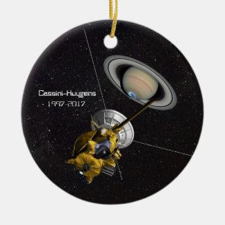Ornement Rond En Céramique Mission de Cassini Huygens à Saturn
