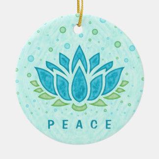Ornement Rond En Céramique Modèle des textes du zen | de fleur de Lotus de