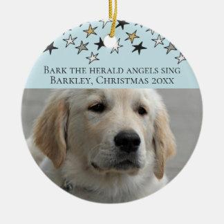Ornement Rond En Céramique Modèle photo personnalisé par Noël de chiens