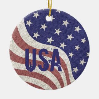 Ornement Rond En Céramique Monogramme patiné des Etats-Unis de drapeau de