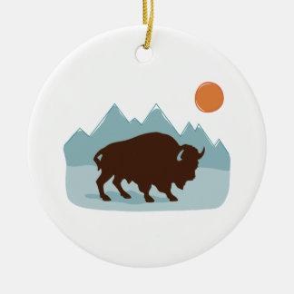Ornement Rond En Céramique Montagnes de Buffalo