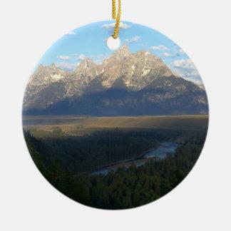 Ornement Rond En Céramique Montagnes de Jackson Hole (parc national grand de