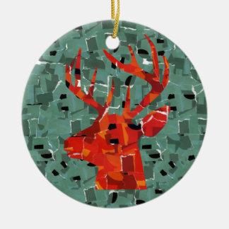 Ornement Rond En Céramique Mosaïque principale de silhouette de cerfs communs