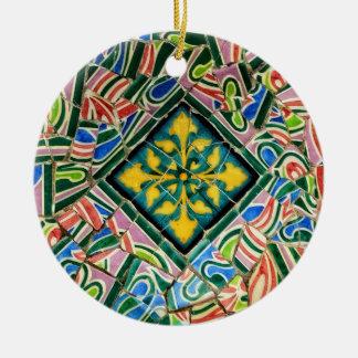 Ornement Rond En Céramique Mosaïques de Guell de parc