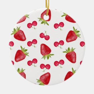 Ornement Rond En Céramique Motif de fiesta de cerises de fraises