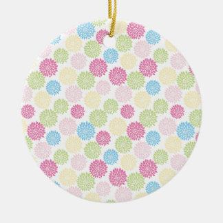 Ornement Rond En Céramique Motif de fleurs en pastel coloré de dahlia