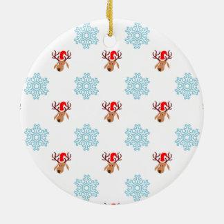 Ornement Rond En Céramique Motif de renne de Noël