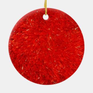 Ornement Rond En Céramique Motif lumineux chic de fête de couleur rouge