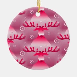 Ornement Rond En Céramique Motif rose lunatique de renne de Noël