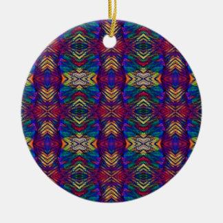 Ornement Rond En Céramique Motif tribal pourpre de riches de bleus profonds