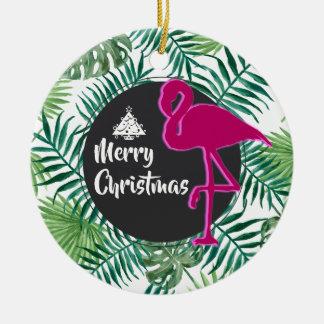 Ornement Rond En Céramique Motif tropical de feuille et Noël rose de flamant