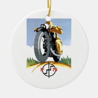 Ornement Rond En Céramique Motos 1925 F-N annonçant l'affiche