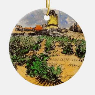 Ornement Rond En Céramique Moulin à vent de Van Gogh d'Alphonse Daudet,