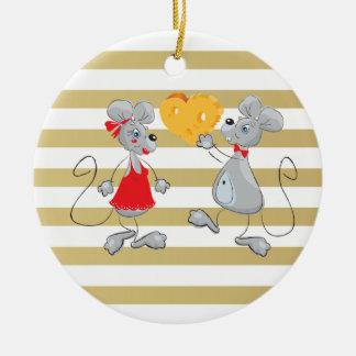 Ornement Rond En Céramique Mouses-Rayures lunatiques originales mignonnes