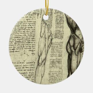 Ornement Rond En Céramique Muscles masculins d'anatomie humaine par Leonardo