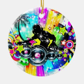 Ornement Rond En Céramique Musique colorée DJ