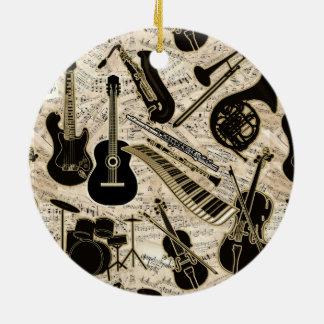 Ornement Rond En Céramique Musique de feuille et noir d'instruments/or ID481