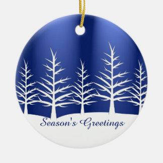 Ornement Rond En Céramique Neige blanche d'arbres de Noël