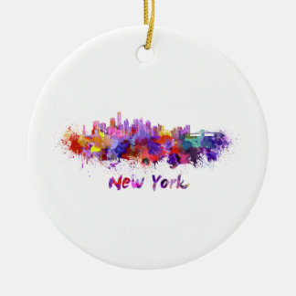 Ornement Rond En Céramique New York skyline in watercolor