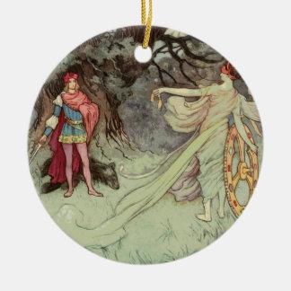 Ornement Rond En Céramique No. 2 de Noël de conte de fées