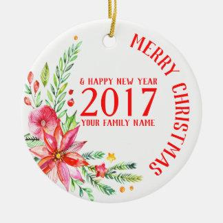 Ornement Rond En Céramique Noël coloré fleurit le modèle de bouquet et de