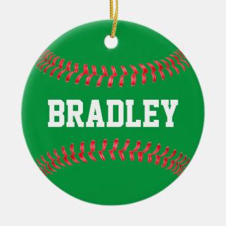 Ornement Rond En Céramique Noël colore l'ornement vert et rouge de base-ball