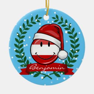 Ornement Rond En Céramique Noël dans le drapeau de sourire de l'Albanie