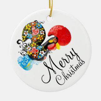 Ornement Rond En Céramique Noël de Barcelos de coq 06 floraux célèbres Joyeux
