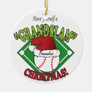Ornement Rond En Céramique Noël de base-ball de Grand Chelem
