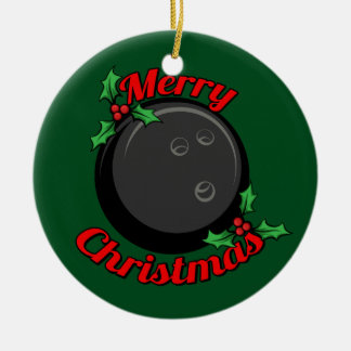 Ornement Rond En Céramique Noël de boule de bowling Joyeux
