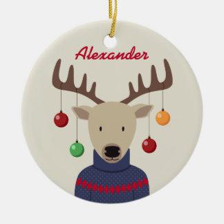 Ornement Rond En Céramique Noël de cerfs communs