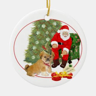 Ornement Rond En Céramique Noël de chiot de Pekingese