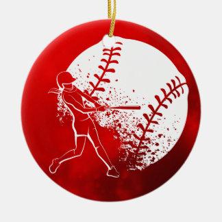 Ornement Rond En Céramique Noël de cogneur du base-ball