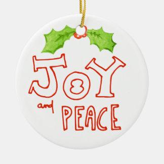 Ornement Rond En Céramique Noël de feuille de houx de joie et de paix  